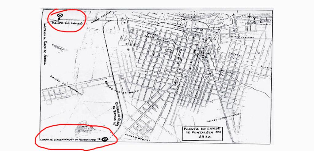Mapa da cidade de Fortaleza no ano de 1932 indicando a localização das concentrações de Matadouro e Urubu Foto: Livro Isolamento e poder: Fortaleza e os campos de concentração na Seca de 1932